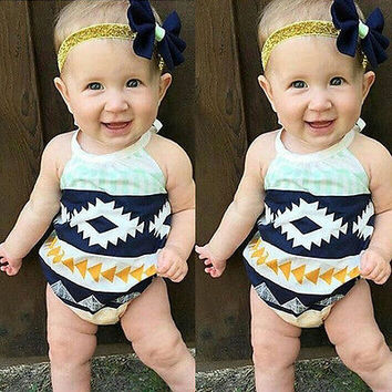 2017 Cute Newborn Baby Girl Romper Clothes Summer Sleeveless Backless Print Baby Rompers Toddler Kids Jumpsuit Outfits Sunsuit