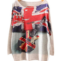 Union Jack And Guitar Print Sweater