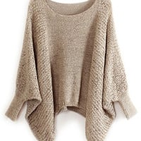 ROMWE | ROMWE Batwing Sleeves Hollow Asymmetric Khaki Jumper, The Latest Street Fashion