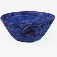 Purple and Periwinkle Coiled Fabric Bowl, Basket