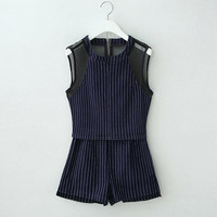2Pcs Striped Sleeveless Mesh Accent Cropped Top Shorts Set