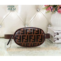 Fendi 2019 new women's simple and stylish wild chest bag shoulder diagonal package Brown
