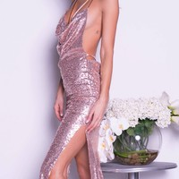 KENDALL SEQUIN GOWN IN ROSE GOLD