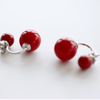 925 Sterling Silver (cute red) sweet all-match earrings