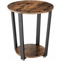 Farmhouse Rustic Round Side Table Nightstand End Table