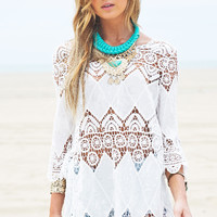 White Cut-Out Lace Crochet Beach Cover