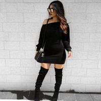 Fall Women Sexy Bodycon Dress Off Shoulder Black Dress Slash Neck Stretchy Club Robe Party Mini Batwing Sleeve Dress SM6