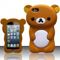 Apple iPhone 5 iPhone 5S 3D Bear Silicone Soft Case Cover (Brown)
