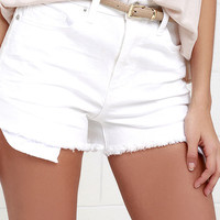 Life is a Highway White High-Waisted Denim Shorts