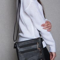 Lucky 21 Two Compartment Zippered Faux Leather Crossbody Purse - Black
