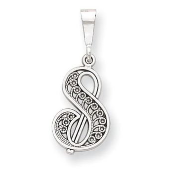 14k White Gold Solid Polished Filigree Initial S Pendant D1281S