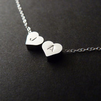 Couple Jewelry, Two Hearts Necklace, Initial Charm Necklace, Mom and Children, Monogram Jewelry, Sterling Silver