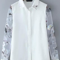 White Sheer Organza Long Sleeve Floral Blouse