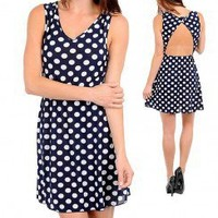 POLKA DOT A-LINE DRESS-Evening & Party-Occasion Dresses,Evening Dresses,Party Dresses, Long Dresses,Sexy Dresses,discount party dresses,neckline party dresses,long sleeve evening dresses