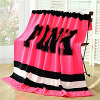 Pink VS Secret Blanket on Bed mantas para cama Sleeve Plaid Throw Sofa Fleece Home For Barbie decoration bedroom Bedding Hot