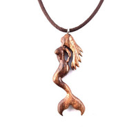 Mermaid Necklace, Sirene Necklace, Mermaid Pendant, Wooden Mermaid Necklace, Nautical Jewelry, Hand Carved Mermaid Pendant, Mermaid Jewelry