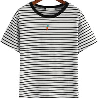 White Striped Carrot Embroidered T-shirt