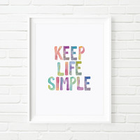 "Motivational Poster Typography Art ""Keep Life Simple"" Inspirational Print Wall Decor Wall Art"