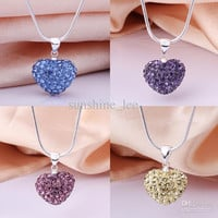 New Fashion Shamballa Necklace 925 Silver 14MM Mix Colors Heart Crystal Disco Bead Pendant Necklace