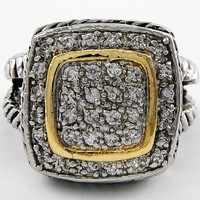 Cubic Zirconia 2 Tone Designer Ring Sz 8 by Jersey Bling