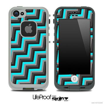 Slanted Turquoise, Black and Gray Chevron Pattern Skin for the iPhone 5 or 4/4s LifeProof Case