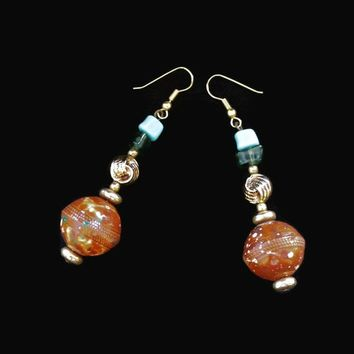 Speckled Rust Red Ball Dangle Earrings, Accented With Gold Tone, Green And Blue Beads, 3 Inches Long