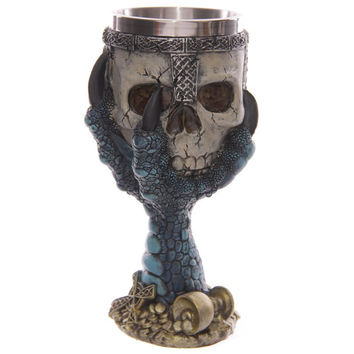 Dragons Claw Warrior Skull Gothic Goblet, Spine Chalice Pagan Samhein Halloween Ornament Creative Design Party Drinkware Home Decor Planter