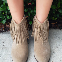 On The Fringe Of Glory Booties - Beige