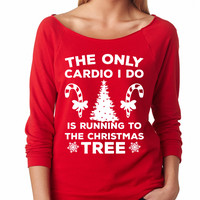 Red The Only Cardio I Do Christmas Red Raglan
