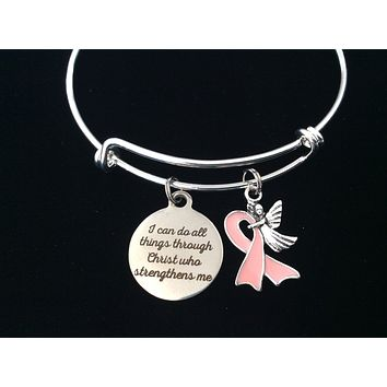 I Can Do All Things Through Christ Who Strengthens Me Guardian Angel Pink Awareness Ribbon Expandable Charm Bracelet Adjustable One Size Fits All