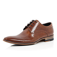 River Island MensBrown textured leather formal lace up shoes