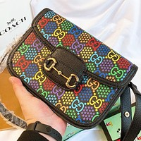 GUCCI Fashion New Multicolor More Letter Shoulder Bag Crossbody Bag Saddle Bag Black