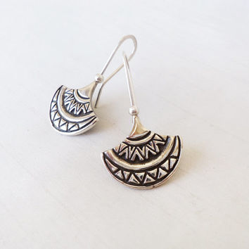 Sterling Silver Tribal and Original Earrings - Contemporary Original Ethnic Tribal Design engraved Earrings - Contemporary Jewelry in Silver