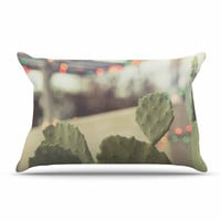 "Ann Barnes ""Austin Summer Party"" Green Tan Pillow Case"