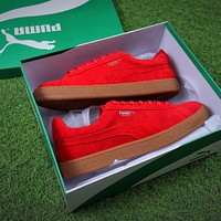 Puma Basket Chammy Suede Red Men Casual Shoes