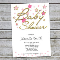 Girl Baby Shower Invitation Girl Gold Baby Shower Invitations Baby Girl Shower Invites Pink Gold (V11) Free Thank You Card Instant Download