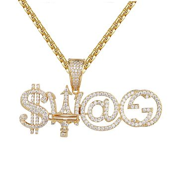 Swag Dollar Luxury Logo Hip Hop Gold Tone Micro Pave Pendant