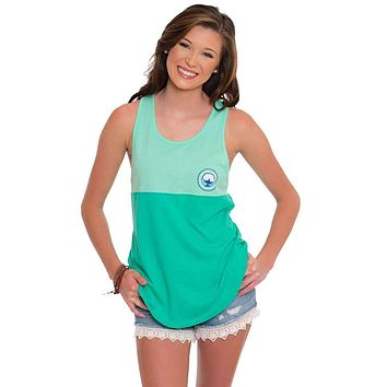 Colorblock Racerback Tank Top in Mint Leaf by The Southern Shirt Co.