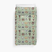 'Wild Animal Portraits in Green Texture' Duvet Cover by DoucetteDesigns