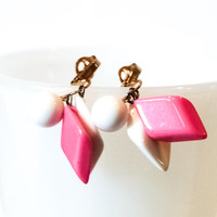 Pair of Beaded Pink and White Diamond Drop Clip On Earrings