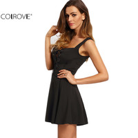 COLROVE Sexy Women Summer Style 2016 Casual A Line Woman New Arrival Black Sleeveless Lace Up Front Strap Skater Mini Dress