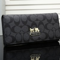 """Coach"" Fashion Classic Print Long Section Multi-card Bit Button Three Fold Wallet Women Clutch Purse"
