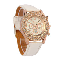 Ladies Big Dial Quartz Watch Round Analog Women Dress Wrist Watch