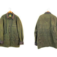 Vintage Army Green Canvas Barn Coat 90s Mens Thick Chore Jacket Ranch Coat Utility Pockets Oversize Fall Winter LINED Field Coat Men's Large