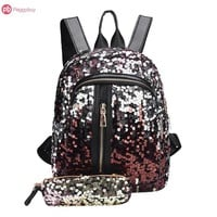 Student Backpack Children 2pcs/Set New Teenage Girls Fashion Bling Rucksack Glitter Sequins Backpack Students School Bag with Pencil Case Clutch Mochilas AT_49_3