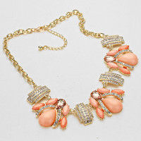 Peach Crystal Cabochon Cluster Statement Necklace FREE SHIPPING