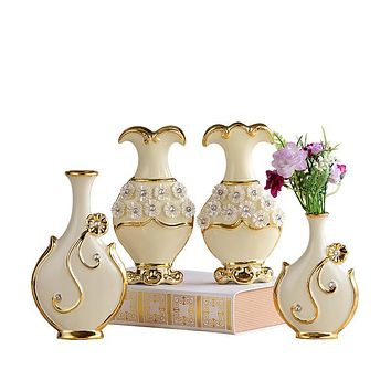 FREESON English Style Gold Trimmed Porcelain Vases for Decorations