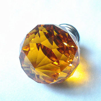 Large Glass Crystal Knobs Diamond Amber Yellow / Kitchen Cabinet Knobs Pulls Handles / Dresser Drawer Knob Pull Handle Hardware Sparkle