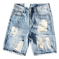 2017 Mens Ripped Denim Shorts Hip Hop Washed Hole Jean Shorts Streetwear Y2018