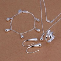 Silver Plated Drop Jewelry Set